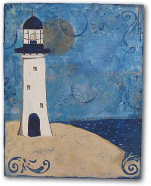 mixed media art lighthouse